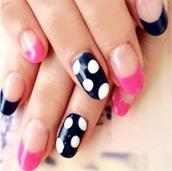 ネイビードット+ピンク